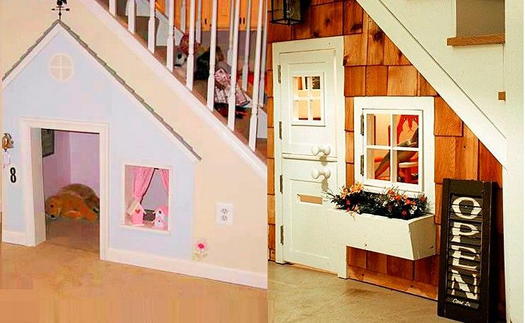 espacio debajo de escaleras usado como área de juegos